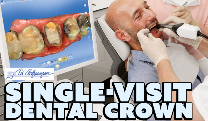 Single-visit dental crown, picture of dentist scanning a patients mouth with a digital wand.